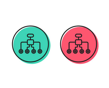 Illustrazione per Restructuring line icon. Business architecture sign. Delegate symbol. Positive and negative circle buttons concept. Good or bad symbols. Restructuring Vector - Immagini Royalty Free