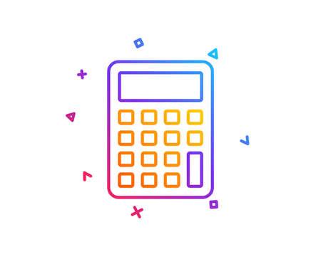 Ilustración de Calculator line icon. Accounting sign. Calculate finance symbol. Gradient line button. Calculator icon design. Colorful geometric shapes. Vector - Imagen libre de derechos