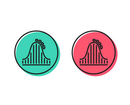 Illustrazione per Roller coaster line icon. Amusement park sign. Carousels symbol. Positive and negative circle buttons concept. Good or bad symbols. Roller coaster Vector - Immagini Royalty Free