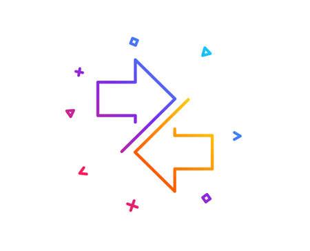 Ilustración de Synchronize arrows line icon. Communication Arrowheads symbol. Navigation pointer sign. Gradient line button. Synchronize icon design. Colorful geometric shapes. Vector - Imagen libre de derechos
