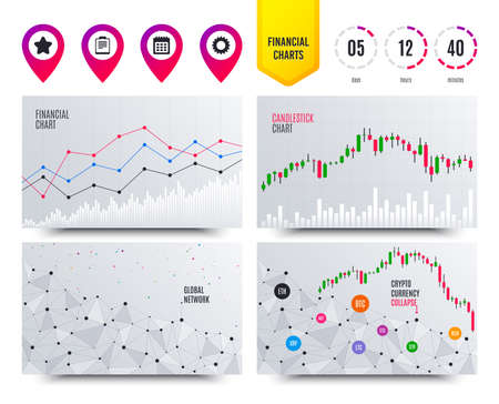 Illustration pour Financial planning charts. Calendar and Star favorite icons. Checklist and cogwheel gear sign symbols. Cryptocurrency stock market graphs icons. Trendy design. Calendar vector - image libre de droit