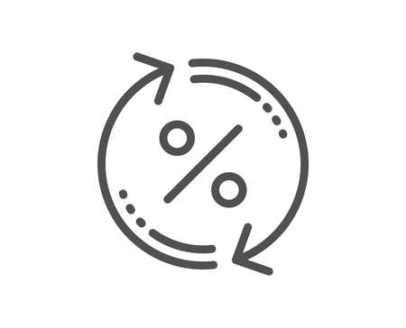 Ilustración de Loan percent update line icon. Discount sign. Credit percentage rate symbol. Quality design flat app element. Editable stroke Loan percent icon. Vector - Imagen libre de derechos
