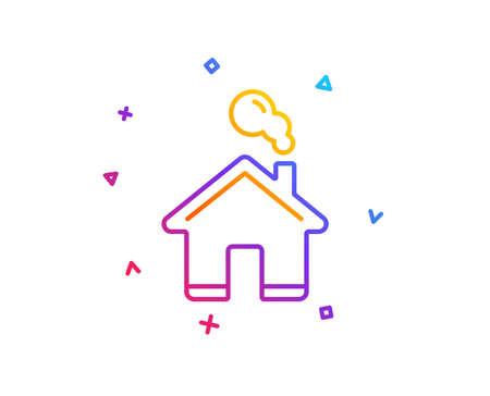 Ilustración de Home line icon. House sign. Building or Homepage symbol. Gradient line button. Home icon design. Colorful geometric shapes. Vector - Imagen libre de derechos