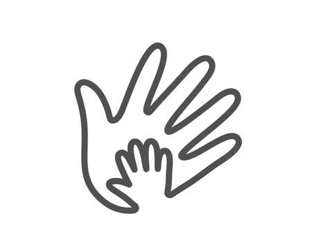Illustration for Hand line icon. Social responsibility sign. Honesty, collaboration symbol. Quality design flat app element. Editable stroke Social responsibility icon. Vector - Royalty Free Image