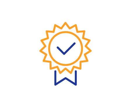 Illustration pour Certificate line icon. Verified award sign. Accepted or confirmed symbol. Colorful outline concept. Blue and orange thin line color icon. Certificate Vector - image libre de droit