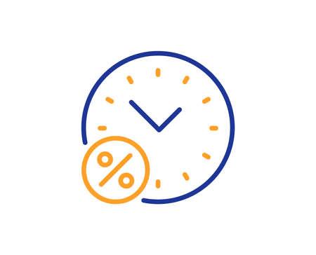 Ilustración de Loan time percent line icon. Discount sign. Credit percentage symbol. Colorful outline concept. Blue and orange thin line color Loan percent icon. Vector - Imagen libre de derechos