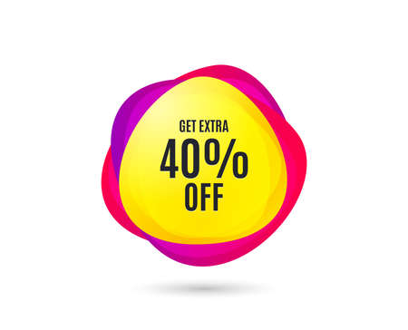 Photo pour Get Extra 40% off Sale. Discount offer price sign. Special offer symbol. Save 40 percentages. Gradient sale tag. Abstract shopping banner. Template for design. Vector - image libre de droit