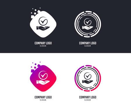 Illustration pour Logotype concept. Tick and hand sign icon. Palm holds check mark symbol. Logo design. Colorful buttons with icons. Vector - image libre de droit