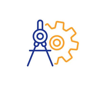 Illustration pour Cogwheel dividers line icon. Engineering tool sign. Cog gear symbol. Colorful outline concept. Blue and orange thin line color Cogwheel dividers icon. Vector - image libre de droit