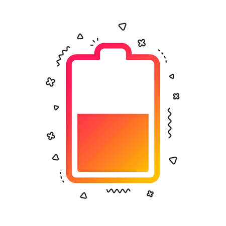 Ilustración de Battery half level sign icon. Low electricity symbol. Colorful geometric shapes. Gradient battery icon design.  Vector - Imagen libre de derechos