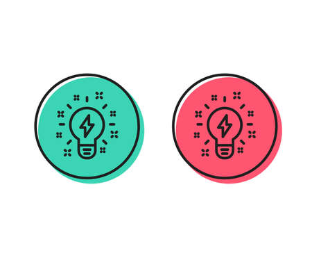 Illustrazione per Inspiration line icon. Creativity light bulb with lightning bolt sign. Graphic art symbol. Positive and negative circle buttons concept. Good or bad symbols. Inspiration Vector - Immagini Royalty Free