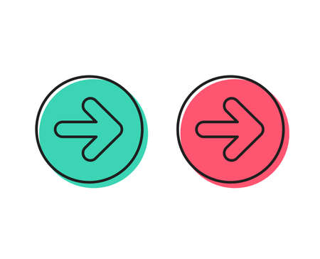 Illustrazione per Next arrow line icon. Forward Arrowhead symbol. Navigation pointer sign. Positive and negative circle buttons concept. Good or bad symbols. Next Vector - Immagini Royalty Free