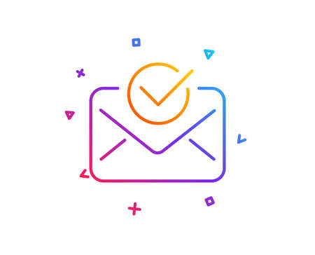Ilustración de Approved mail line icon. Accepted or confirmed sign. Document symbol. Gradient line button. Approved mail icon design. Colorful geometric shapes. Vector - Imagen libre de derechos