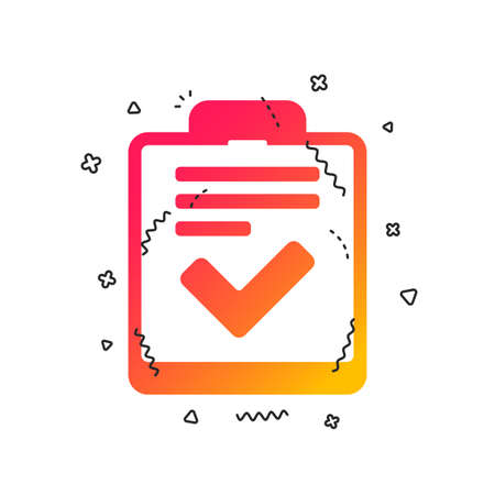 Illustration pour Checklist sign icon. Control list symbol. Survey poll or questionnaire feedback form. Colorful geometric shapes. Gradient checklist icon design.  Vector - image libre de droit