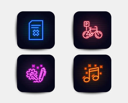 Illustration pour Neon set of Engineering, Delete file and Bicycle parking icons. Musical note sign. Construction, Remove document, Bike park. Music. Neon icons. Glowing light banners. Vector - image libre de droit