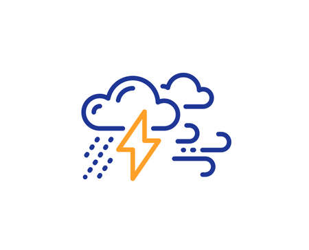 Illustrazione per Clouds with raindrops, lightning, wind line icon. Bad weather sign. Colorful outline concept. Blue and orange thin line color Bad weather icon. Vector - Immagini Royalty Free