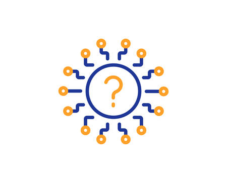 Ilustración de Question mark line icon. Quiz chat bubble sign. Faq system. Colorful outline concept. Blue and orange thin line color Question mark icon. Vector - Imagen libre de derechos