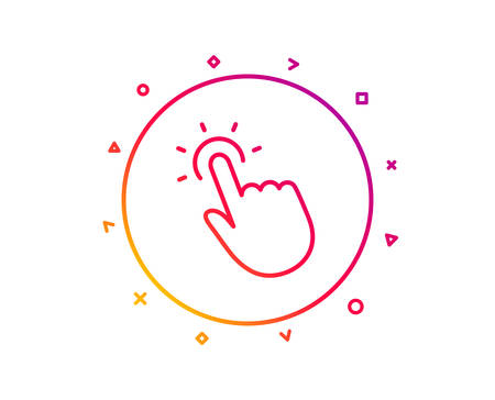 Illustration pour Touchpoint line icon. Click here sign. Touch technology symbol. Gradient pattern line button. Touchpoint icon design. Geometric shapes. Vector - image libre de droit