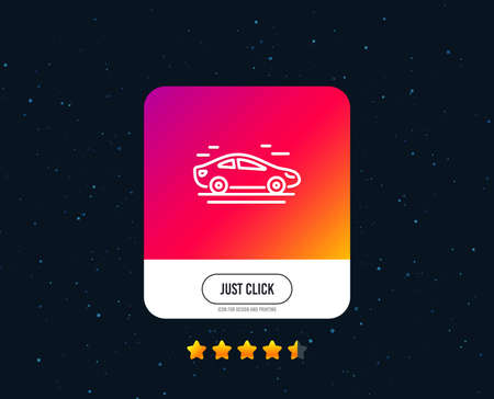 Illustration pour Car transport line icon. Transportation vehicle sign. Driving symbol. Web or internet line icon design. Rating stars. Just click button. Vector - image libre de droit