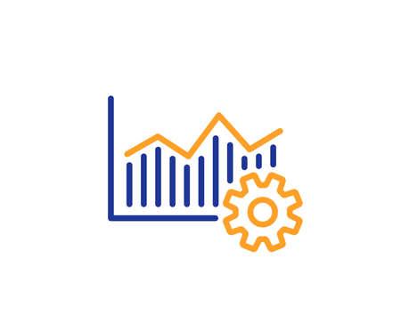 Illustration pour Operational excellence line icon. Cogwheel sign. Colorful outline concept. Blue and orange thin line color icon. Operational excellence Vector - image libre de droit