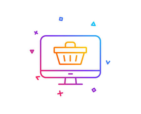 Illustration for Online Shopping cart line icon. Monitor sign. Supermarket basket symbol. Gradient line button. Web shop icon design. Colorful geometric shapes. Vector - Royalty Free Image