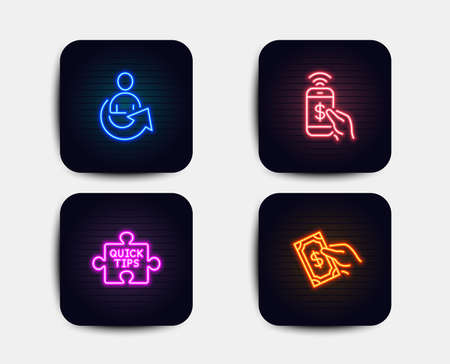 Illustration for Neon set of Share, Phone payment and Quick tips icons. Pay money sign. Referral person, Mobile pay, Tutorials. Hold cash. Neon icons. Glowing light banners. Vector - Royalty Free Image