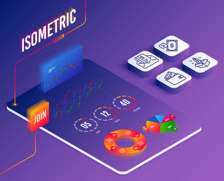 Foto für Isometric vector. Set of Startup, Rejected payment and Credit card icons. Debit card sign. Innovation, Bank transfer, Mail.  Software or Financial markets. Analysis data concept. Vector - Lizenzfreies Bild