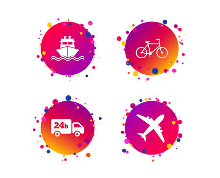Foto de Cargo truck and shipping icons. Shipping and eco bicycle delivery signs. Transport symbols. 24h service. Gradient circle buttons with icons. Random dots design. Vector - Imagen libre de derechos
