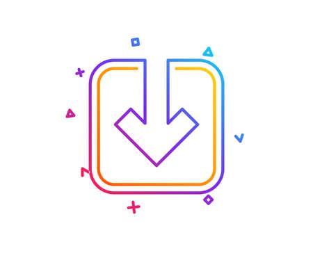 Photo pour Load document line icon. Download arrowhead symbol. Direction or pointer sign. Gradient line button. Load document icon design. Colorful geometric shapes. Vector - image libre de droit
