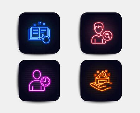 Illustration pour Neon set of Search people, Time management and Technical documentation icons. Skin care sign. Find profile, User with clock, Manual. Hand cream. Neon icons. Glowing light banners. Vector - image libre de droit