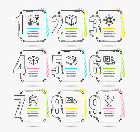 Illustration pour Infographic timeline set of Logistics network, Parcel tracking and Opened box icons. Truck parking, Delivery box and Train signs. Vector - image libre de droit