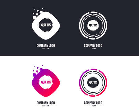 Illustration pour Logotype concept. Quiz star sign icon. Questions and answers game symbol. Logo design. Colorful buttons with icons. Vector - image libre de droit