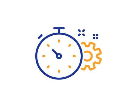 Ilustración de Cogwheel with timer line icon. Engineering tool sign. Cog gear symbol. Colorful outline concept. Blue and orange thin line color Cogwheel timer icon. Vector - Imagen libre de derechos