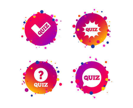 Illustration pour Quiz icons. Speech bubble with check mark symbol. Explosion boom sign. Gradient circle buttons with icons. Random dots design. Vector - image libre de droit