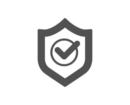 Illustration pour Approved shield icon. Accepted or confirmed sign. Protection symbol. Quality design element. Classic style icon. Vector - image libre de droit