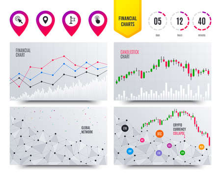 Illustration pour Financial planning charts. Mouse cursor icon. Hand or Flag pointer symbols. Map location marker sign. Cryptocurrency stock market graphs icons. Trendy design. Vector - image libre de droit