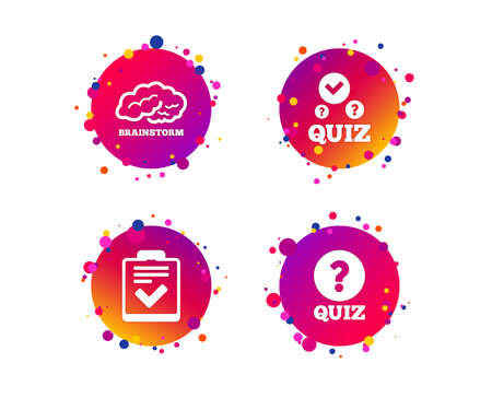 Illustration pour Quiz icons. Human brain think. Checklist with check mark symbol. Survey poll or questionnaire feedback form sign. Gradient circle buttons with icons. Random dots design. Vector - image libre de droit