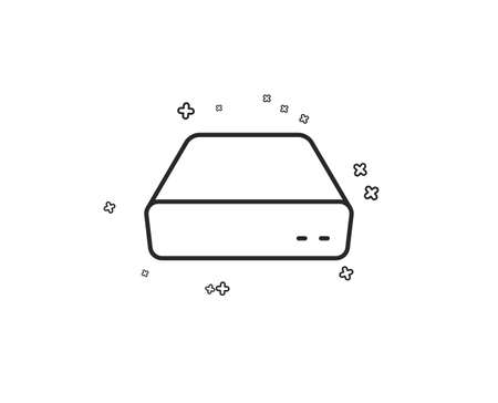 Illustrazione per Mini pc line icon. Small computer device sign. Geometric shapes. Random cross elements. Linear Mini pc icon design. Vector - Immagini Royalty Free