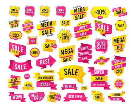 Illustration pour Sale banner. Super mega discounts. Sale discount icons. Special offer price signs. 10, 20, 25 and 30 percent off reduction symbols. Black friday. Cyber monday. Vector - image libre de droit