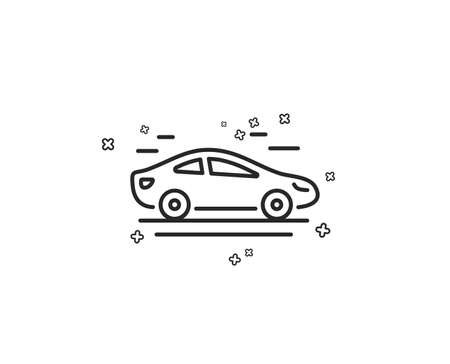 Illustration pour Car transport line icon. Transportation vehicle sign. Driving symbol. Geometric shapes. Random cross elements. Linear Car icon design. Vector - image libre de droit
