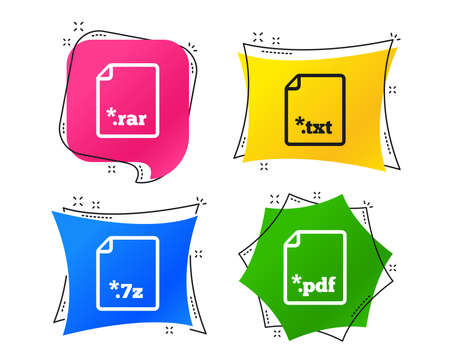 Illustration pour Download document icons. File extensions symbols. PDF, RAR, 7z and TXT signs. Geometric colorful tags. Banners with flat icons. Trendy design. Vector - image libre de droit