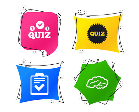 Illustration pour Quiz icons. Human brain think. Checklist symbol. Survey poll or questionnaire feedback form. Questions and answers game sign. Geometric colorful tags. Banners with flat icons. Trendy design. Vector - image libre de droit