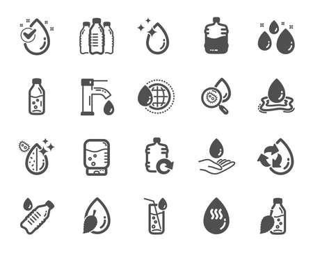 Ilustración de Water drop icons. Set of Bottle, Antibacterial filter and Tap water icons. Bacteria, Cooler and Refill barrel bottle. Liquid drop, antibacterial cleaner and drink machine, tap. Quality design element - Imagen libre de derechos
