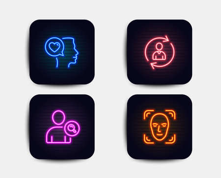 Ilustración de Neon glow lights. Set of Romantic talk, Person info and Find user icons. Face detection sign. Love chat, Refresh user data, Search person.  Neon icons. Glowing light banners. Vector - Imagen libre de derechos