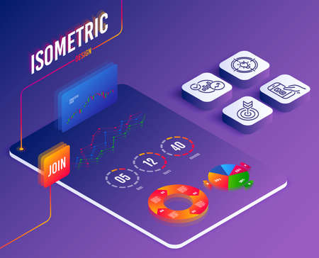 Illustration pour Isometric vector. Set of Statistics, Idea and Mobile survey icons. Target sign. Report charts, Solution, Phone quiz test. Targeting.  Software or Financial markets. Analysis data concept. Vector - image libre de droit