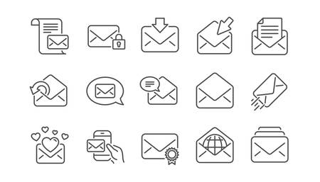 Illustration pour Mail message line icons. Newsletter, E-mail, Correspondence. Communication linear icon set.  Vector - image libre de droit