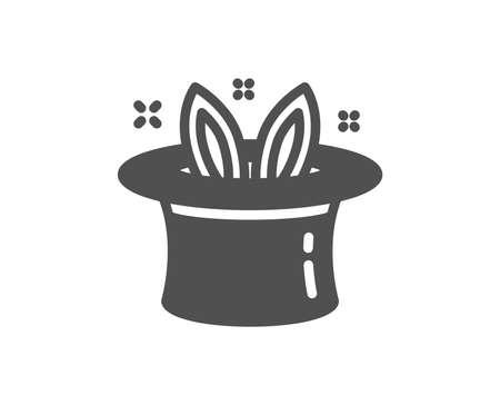 Illustration pour Hat-trick icon. Magic tricks with hat and rabbit sign. Illusionist show symbol. Quality design element. Classic style icon. Vector - image libre de droit