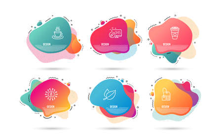 Illustration for Dynamic liquid shapes. Set of Tea bag, Mint leaves and Tea cup icons. Takeaway coffee sign. Brew hot drink, Mentha herbal, Coffee mug. Hot latte drink.  Gradient banners. Fluid abstract shapes. Vector - Royalty Free Image