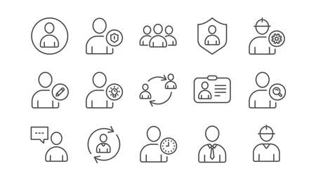Ilustración de User person line icons. Profile, Group and Support. People linear icon set.  Vector - Imagen libre de derechos