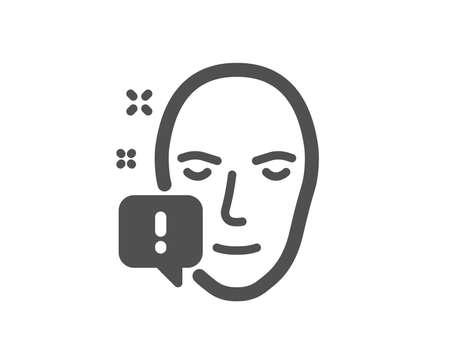 Ilustración de Face attention icon. Exclamation mark sign. Facial identification info symbol. Quality design element. Classic style icon. Vector - Imagen libre de derechos